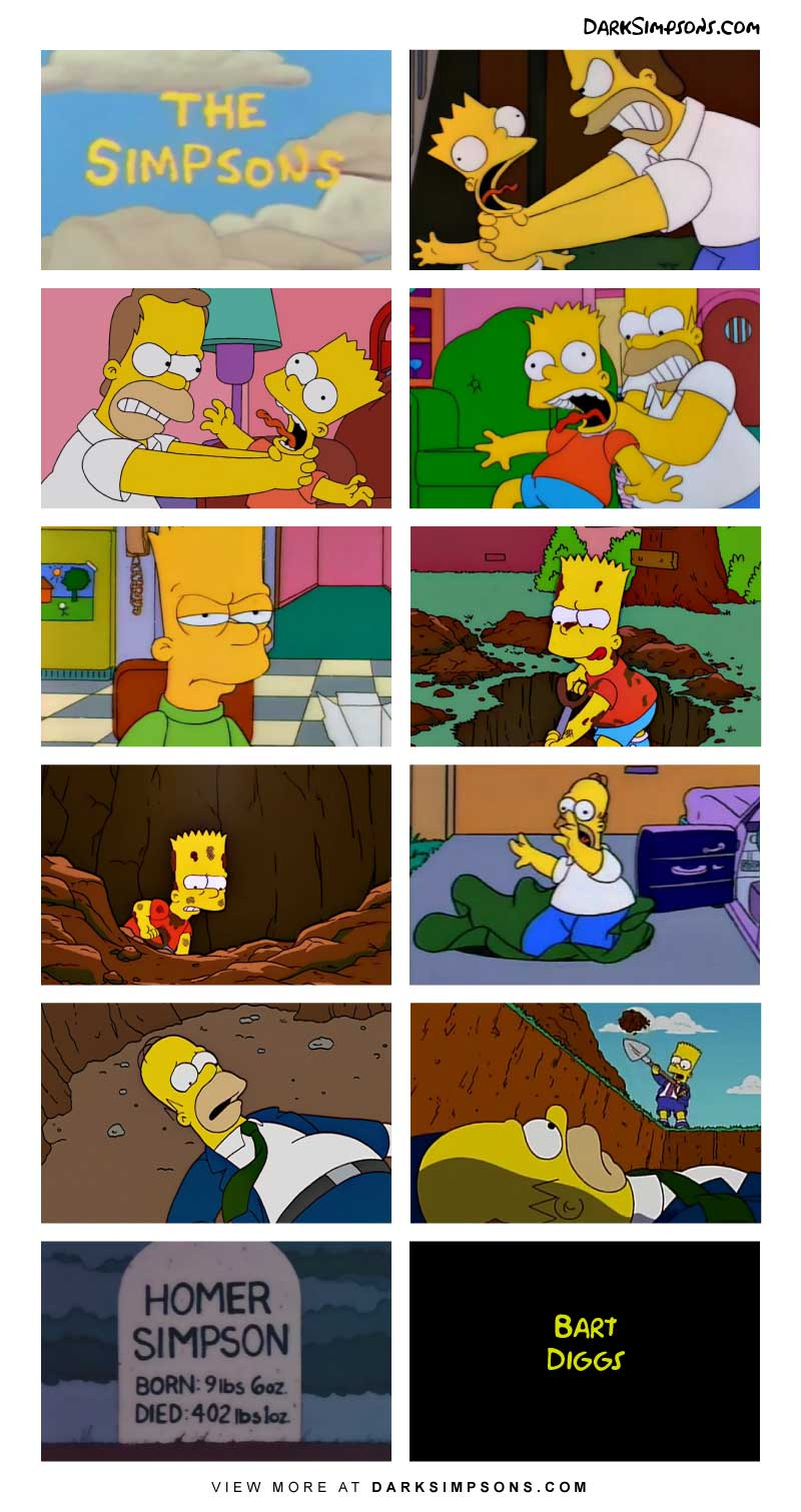 Bart begins digging in his back yard, what is he looking for? It turns out, he plans on burying all of his pains and sorrows.