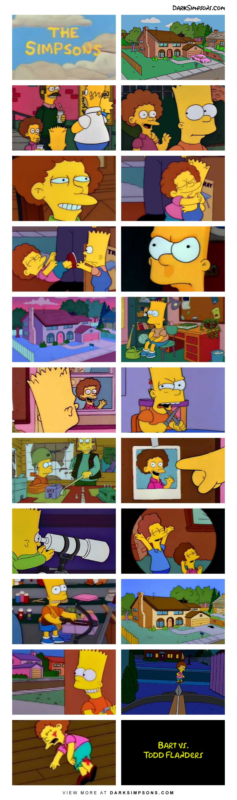 Todd, the quiet religious neighbour has a secret. Is Todd Flanders a homosexual? Bart thinks so. When Todd makes a move on him, Bart doesn't take it well, and he plans to take action. He is going to teach Todd a a lesson that he won't soon forget.