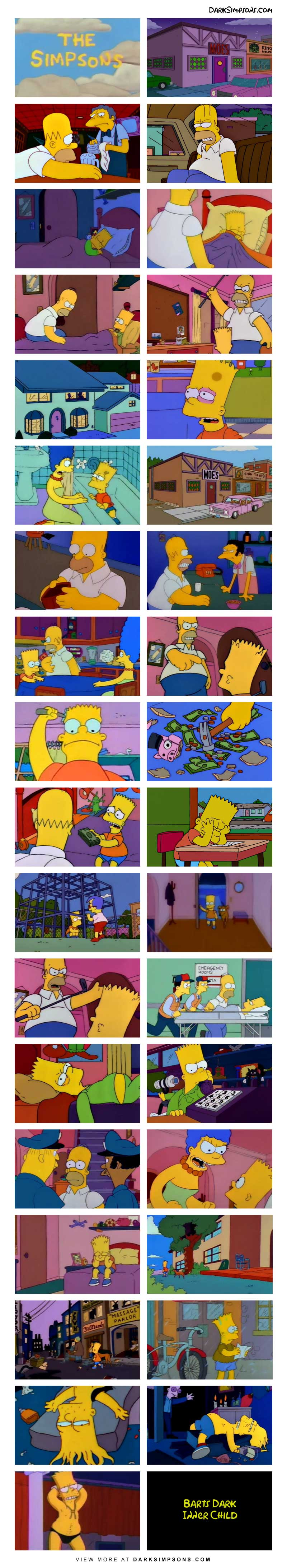 Bart in suffering at home which forces him to make some tough decisions. His traumatic childhood spirals into a dark adult life.