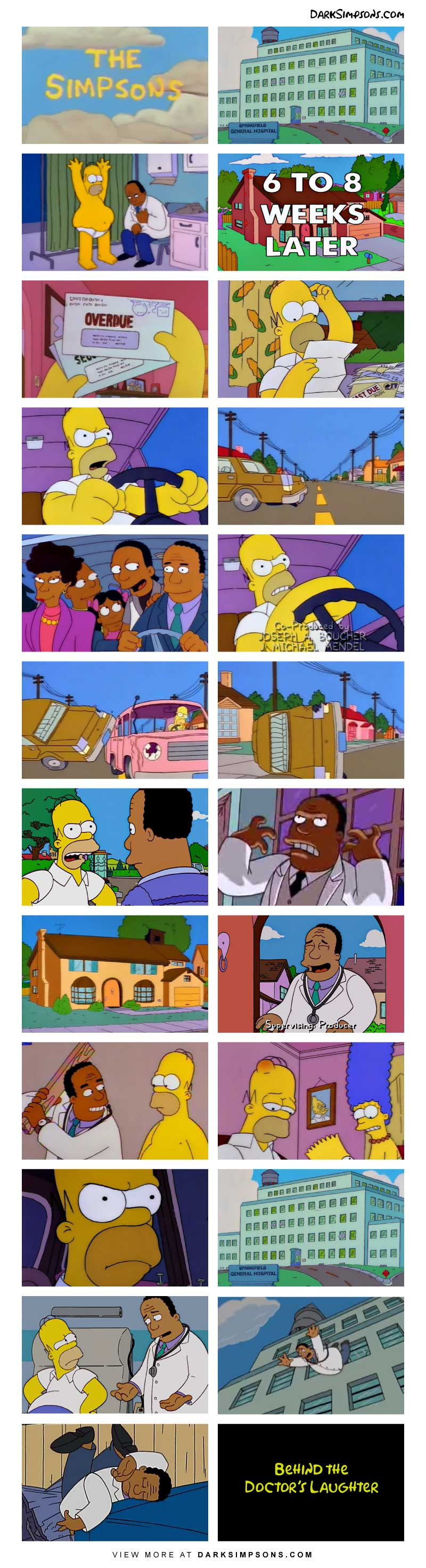 Being behind on paying bills is fairly common for the Simpsons. But when Homer receives a massive bill from a recent visit to Dr. Hibbert for a simple checkup, he is outraged. Now Homer and Dr. Hibbert are in a childish back and forth battle that quickly escalates and becomes fatal.