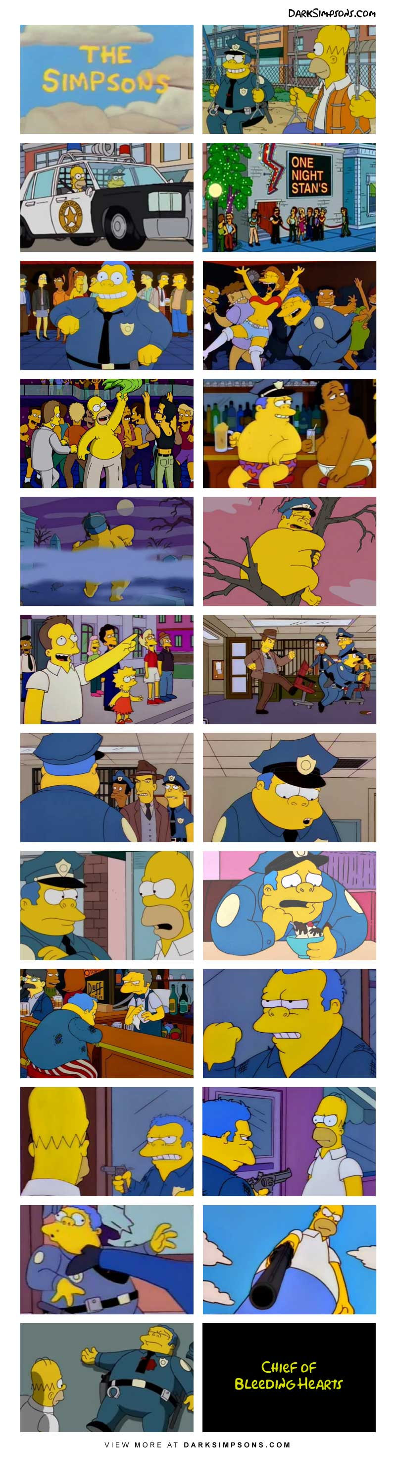 Homer and Chief Wiggum are best friends! But after one unfortunate night, Chief Wiggum's life is hurled into a tailspin.