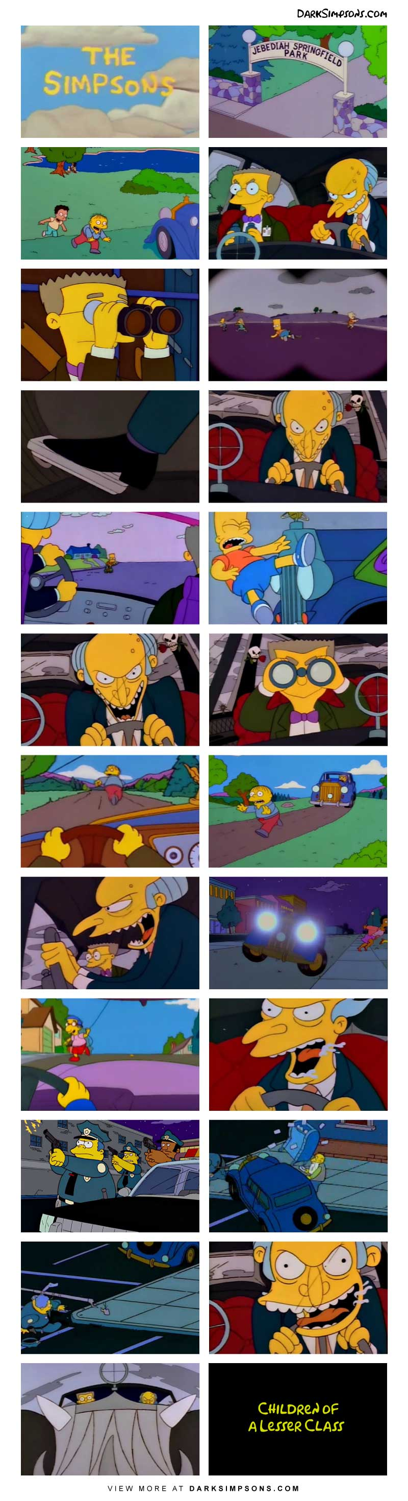 Mr. Burns and Smithers enjoy a lovely day driving around Jebediah Springfield Park.