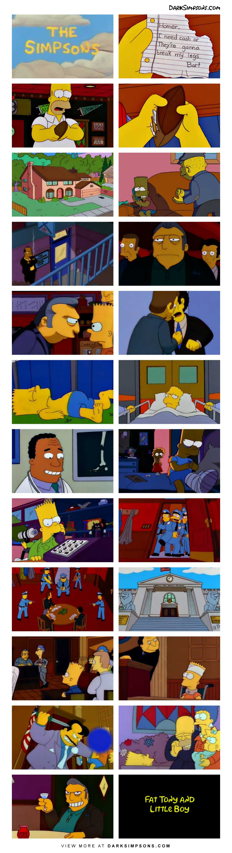 Bart has a bad run in with Fat Tony and he owes them money. When he can't pay, Tony's crew take drastic measures.