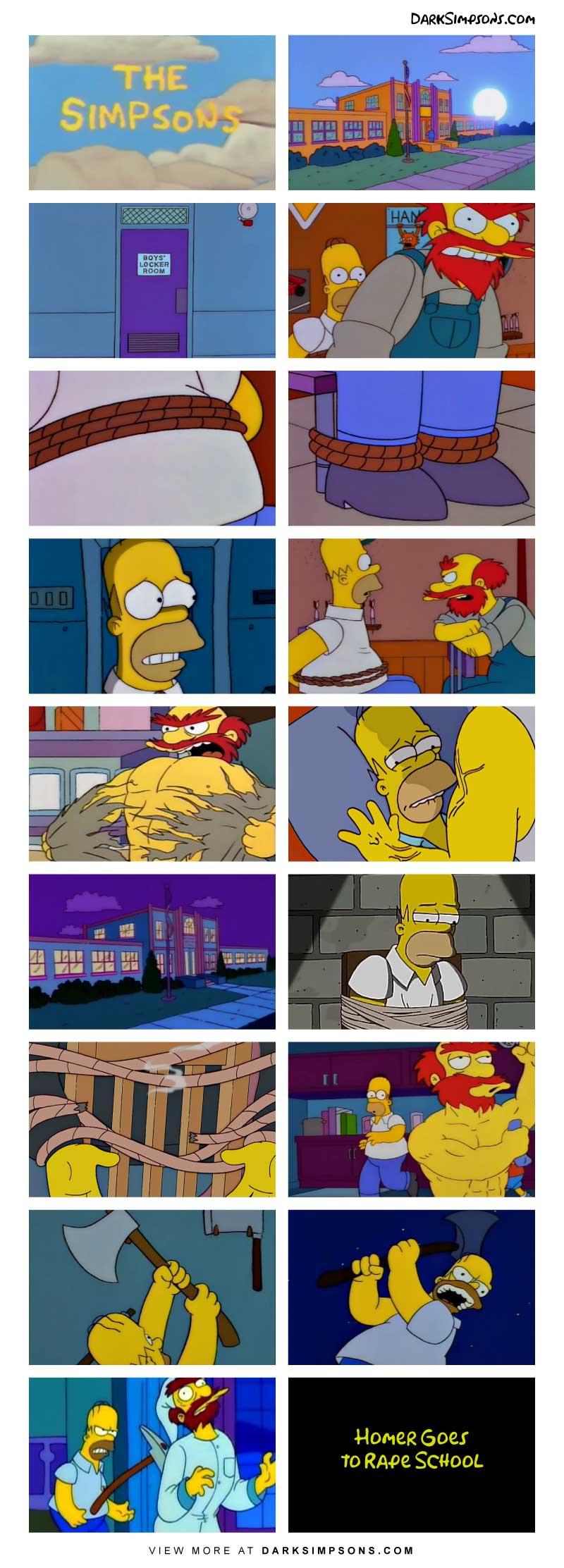 Homer finds himself kidnapped (again), this time by the angry Scotsman, Groundskeeper Willie. The night does not go well for either of them.