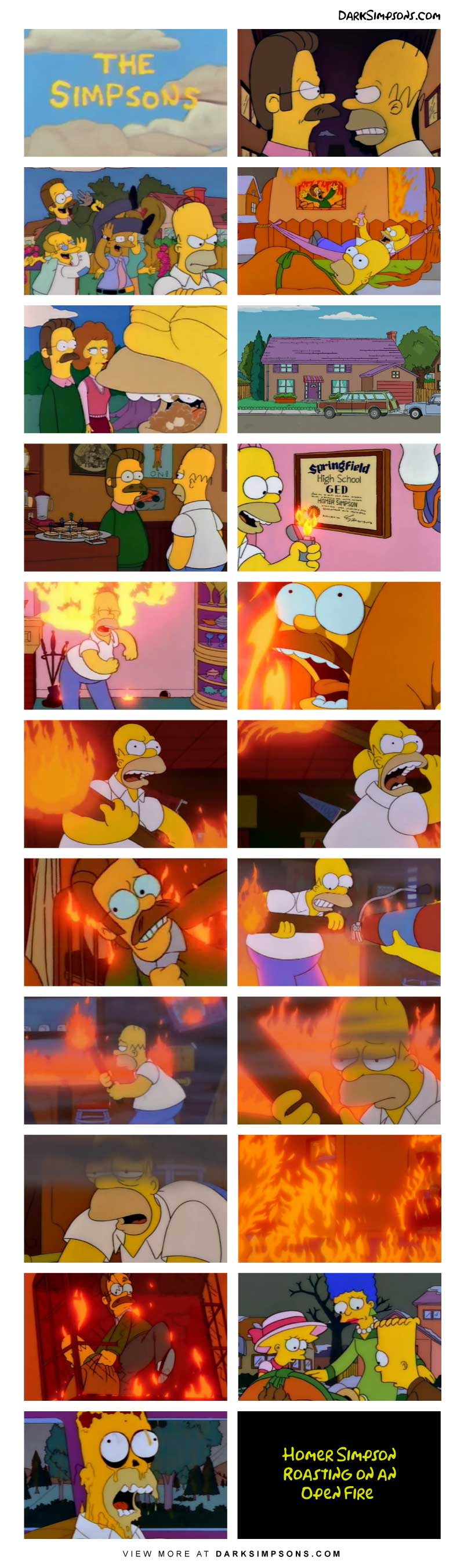 Homer is sick and tired of Ned, so he devised a brilliant plan to get rid of him.  And it all begins with lighting the Flanders house on fire.