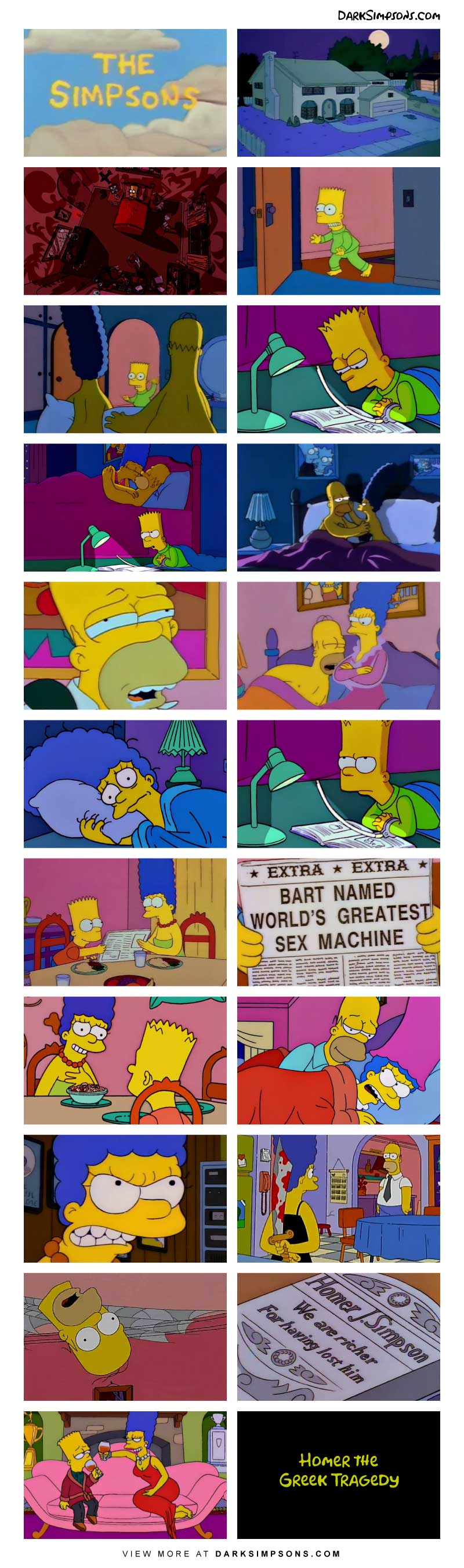 Marge and Homer are snuggling one night and Homer finishes early. Marge is unsatisfied with Homer's performance in the bedroom, so she turns to an unexpected replacement. Read this week's dark comic based on a greek tradgedy.