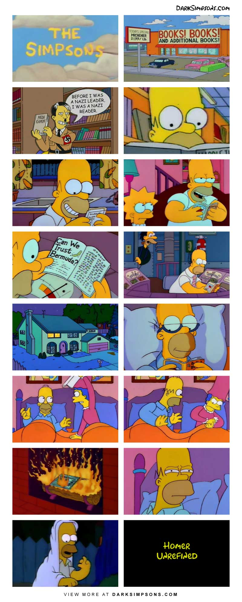 Homer spends the Saturday at the local bookstore. He finds himself a new favorite book and it changes his life.