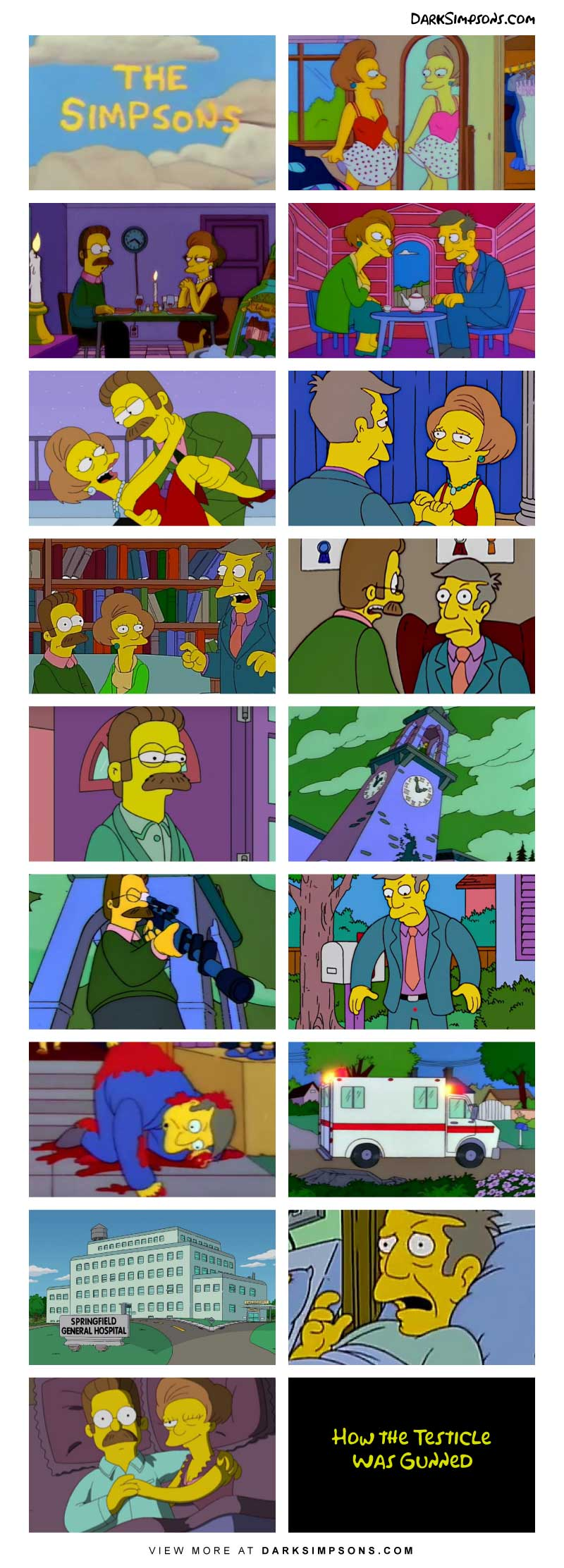 Edna has been casually dating both Ned Flanders and Principal Skinner.  When they find out about each other, they get very angry, and like all men, they over-react.