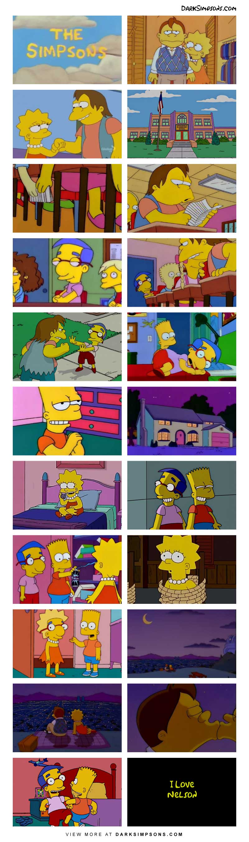 Love is in the air at Springfield Elementary and there is an unusual love triangle going on between Nelson, Lisa and Milhouse. That's not unusual you say? Well what if Milhouse is the one in love with Nelson?