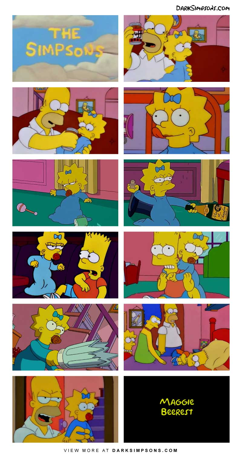 Homer is babysitting and enjoying a beer. You think Homer is a bad drunk? See what happens when Homer feeds Maggie some beer. Homer's parenting at it's finest.