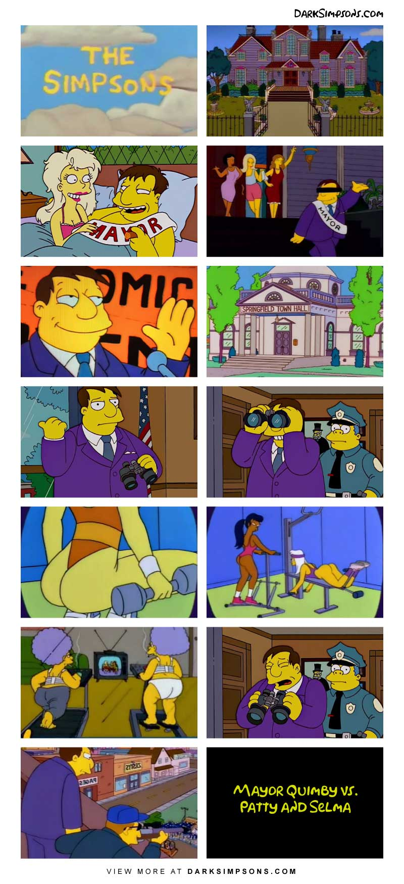 Mayor Quimby's hobbies include brothels and spying on women with his binoculars. But one day when something disrupts his spying, he takes it drastic action. Follow Mayor Quimby's adventure!
