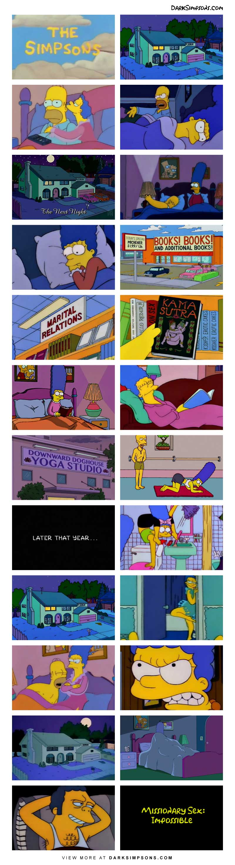 The spark has fallen out of Homer and Marge's sex life, but Marge has a plan to fix it and it involves yoga, hard work and the Kama Sutra. She is going to master the book of love and then Homer will have to accept her love!
