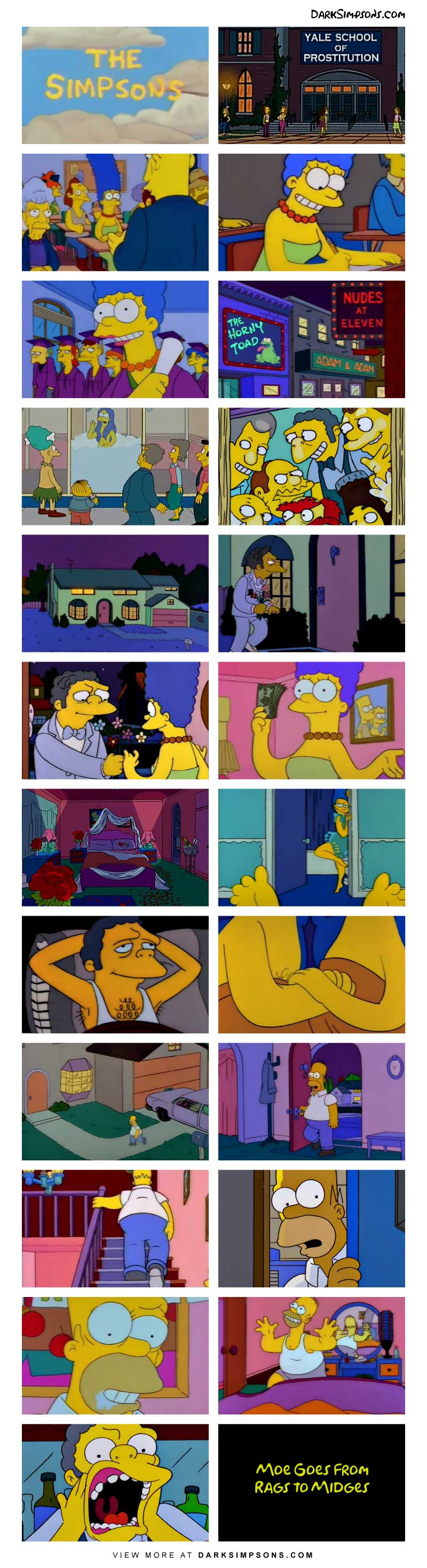 Marge has been bored lately so she decided to take up a new career path. Having no skills, she found the perfect job: prostitution! She goes to school to learn all of the skills and before you know it, she's walking the streets.