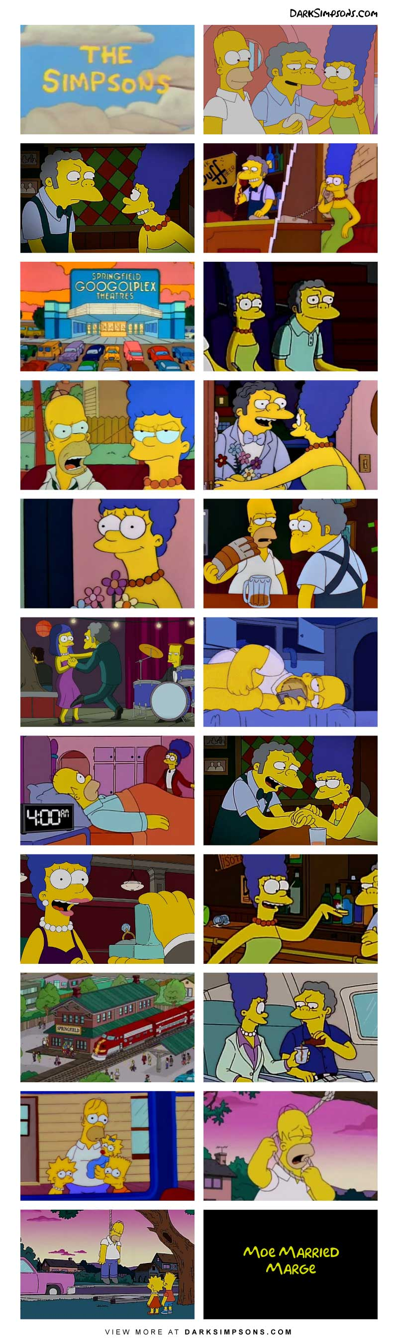 Marge is very unhappy in her current marriage, but she finds some comfort when she crushes on the local barkeep, Moe.