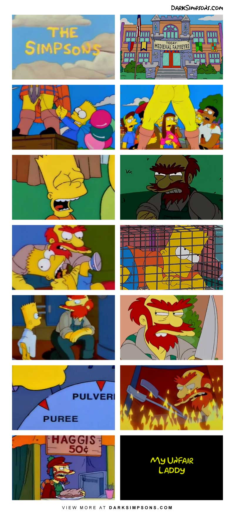 Springfield Elementary is holding a medieval festival! This is the perfect opportunity for Bart to pull off one of his patented pranks, today's target, Groundskeeper Willie.