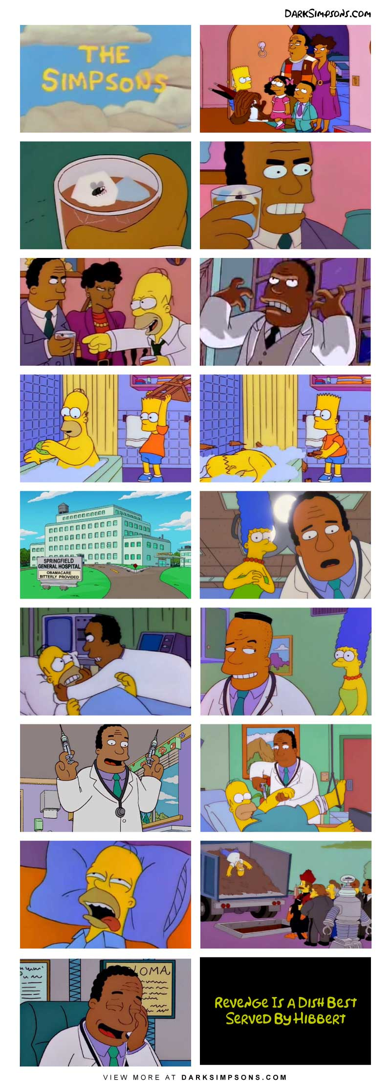 The Simpson family is holding a dinner party. And Dr. Hibbert get embarrassed in a way he won't ever forget.