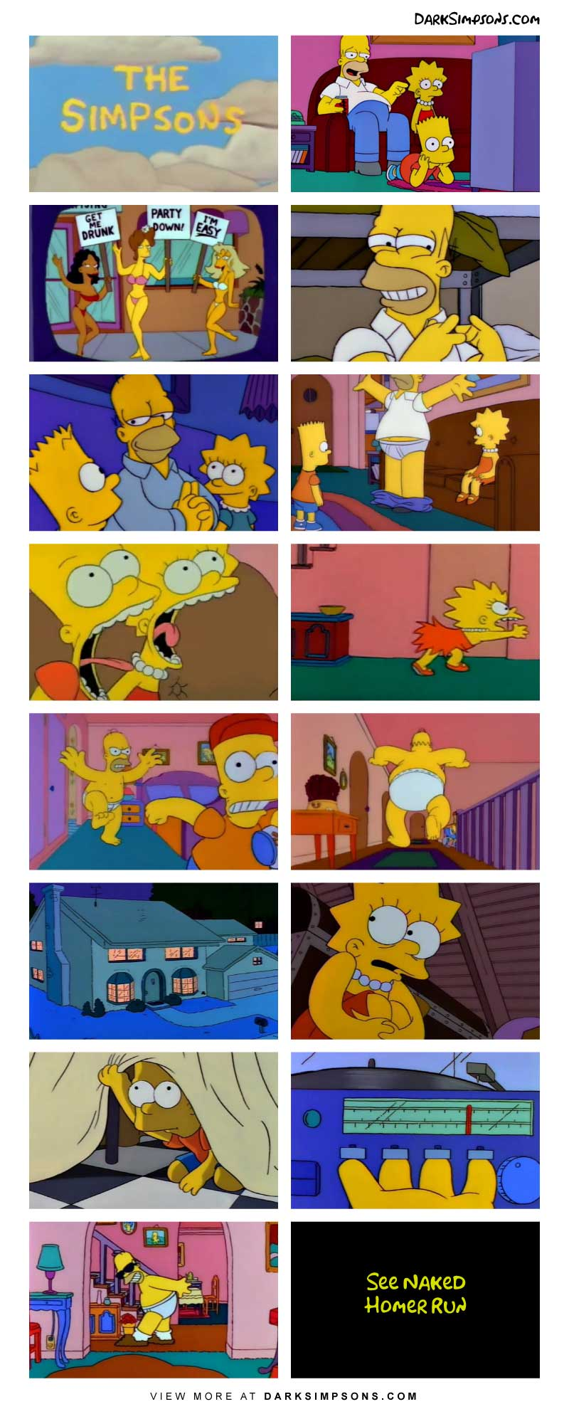 Homer is alone with the children, and well ... remember playing hide and seek as a child with your uncle Jerry? Oh, childhood memories. On today's dark comic, the Simpsons re-enact our disturbing childhood.  Who will win hide and seek?!