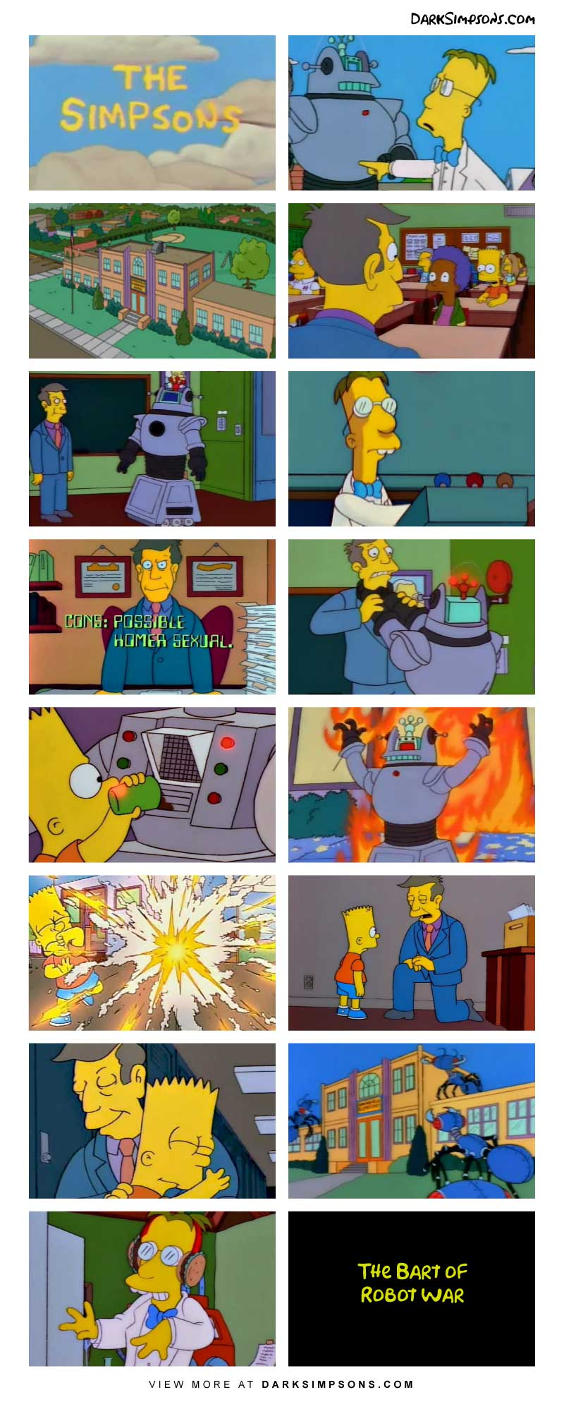 Evil Professor Frink is on a mission for destruction! He and his robot army begin the attack, beginning with Springfield Elementary!