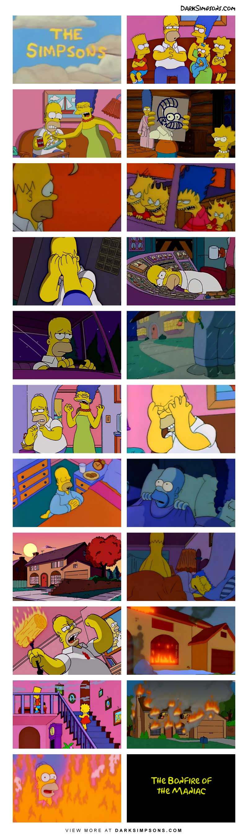 Homer has been psychologically tormented by his family for years, he dreads going home everyday and he can't take it anymore.