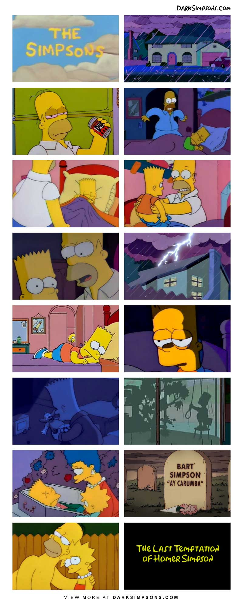 On a cloudy stormy night, Homer is alone with the children. After having a few dozen beers, Homer does something terrible to Bart, and it has deadly consequences. But fear not, he has a second chance at it with Lisa.