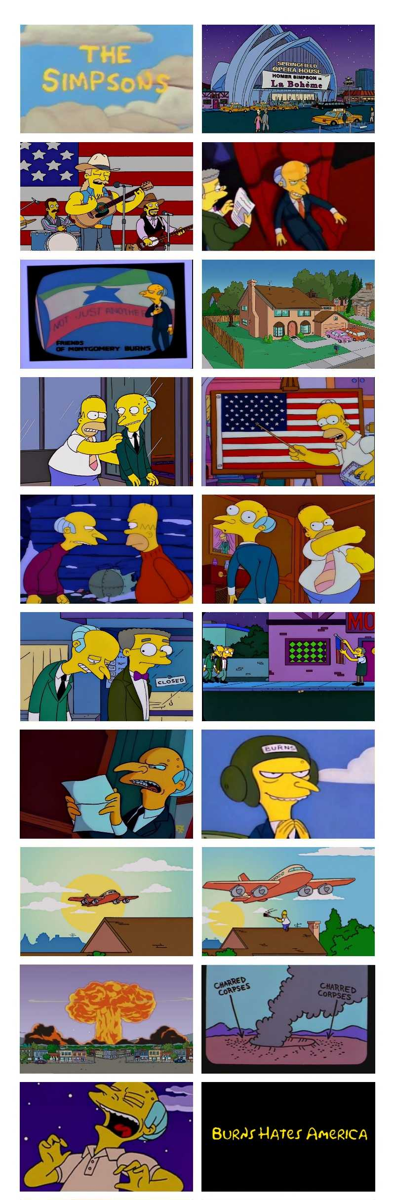 Burns explodes Springfield after seeing how patriotic the town is.