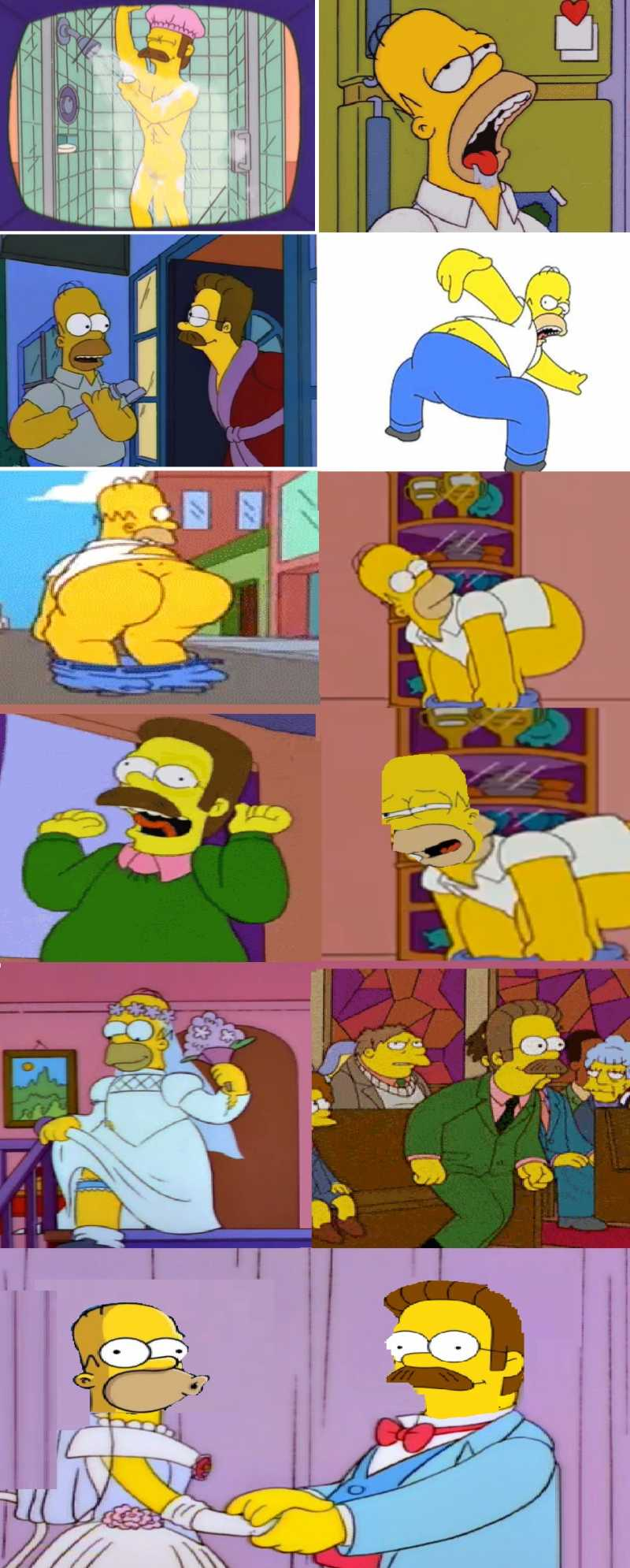 Homer falls in love with flanders and wants to receive love from the back